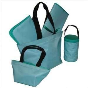 Kalencom Kicker & David design 5 piece Diaper tote bag set Aqua/Teal