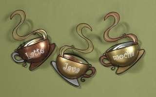 of 3 Metal Coffee Cup Mug Wall Art Latte Mocha Java Kitchen Home Decor