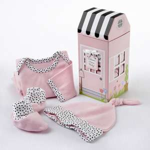 Welcome Home Baby Girl 3 Piece Layette Set in Gift Box (Pink)