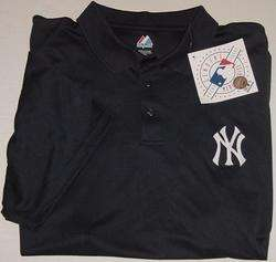 MAJESTIC MLB GENUINE MERCHANDISE NEW YORK YANKEES NAVY POLO GOLF SHIRT