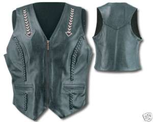 WOMENS ZIP FRONT BLACK LEATHER MOTORCYCLE VEST