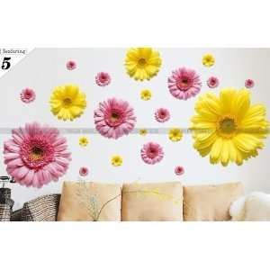 Reusable/removable Decoration Wall Sticker Decal  Large Pink+yellow