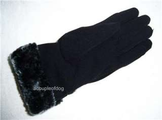 HEAD LADIES GLOVES Casual Evening Winter Faux Fur Cuff Lined Womens L