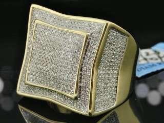 MENS 1 CT YELLOW GOLD ROUND DIAMOND PINKY RING PAVE XXL