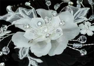 Bridal Wedding Ivory Fabric Flower Crystal Hair Comb AT1463