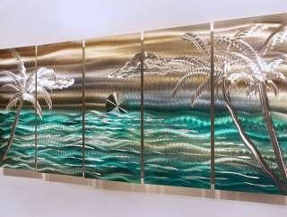 Modern Abstract Tropical Metal Wall Art Decor Silver/Gold/Green