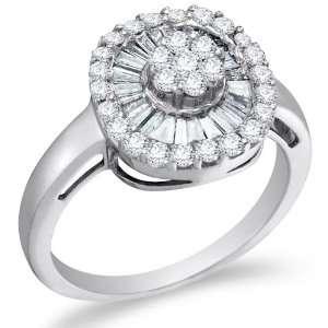 Size 11.5   14K White Gold Diamond Halo Engagement OR Fashion Right