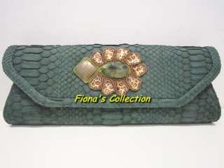 EXOTIC PYTHON CLUTCH BAG PURSE HANDBAG ~ GREEN