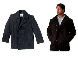 Mens US Navy Jacket Wool Peacoat Winter Pea Coat