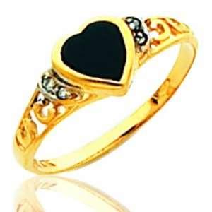 Ladiess 14K Yellow Gold Onyx Stone Masonic Ring Jewelry
