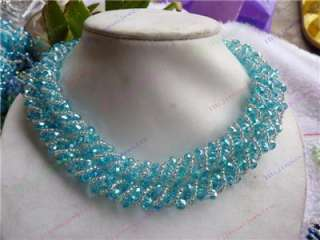 Rows Sky Blue Swarovski Crystal Faceted Necklace18