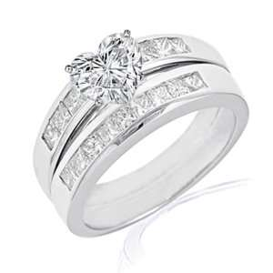 1.70 Ct Heart Shaped Diamond Wedding Rings Channel Set SI1