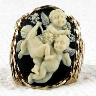 Baby Angel Cherubs Cameo Ring 14K Rolled Gold