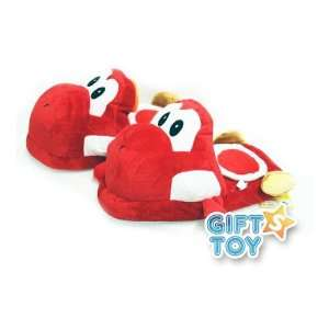 Super Mario Bros Yoshi Plush Slippers (Red) Everything