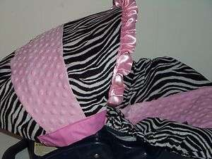 AND PINK MINKY Baby Infant Car Seat Cover Graco OR EVENFLO