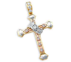 CZ Cross Pendant 14k Yellow White Rose Gold Charm Cubic Zirconia 2.25