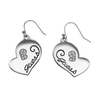 GUESS NEW COLLECTION 2012 STAINLESS STEEL CRYSTALS HEART LADY EARRINGS