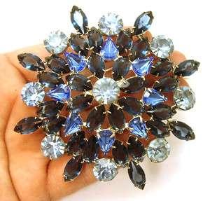 Pin Huge Sapphire Blue Navette Chaton ProngSet Rhinestone Jewelry