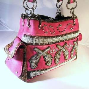 Rhinestones Crossed Guns Pistols Cowgirl Handbag Purse Tote