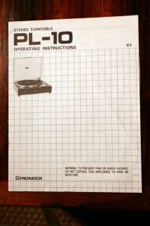 Pioneer PL 10 PL10 Turntable Owners Manual *Original*