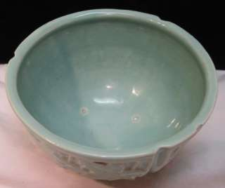 1950 MCCOY POTTERY~AQUA IVY VINE LEAF HANGING BASKET~PLANTER BOWL~POT
