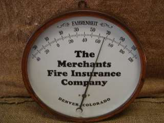 Vintage Merchants Fire Insurance Thermometer  Copper Sign Antique
