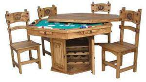 RusticHand Made Texas Poker Table Dining Set 4 8 Weeks