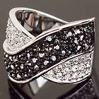 gold Swarovski Crystal black marcasite cross cocktail finger Ring k62