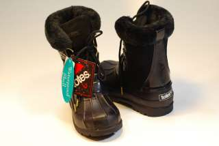 Women Black Leather Winter Snow Rain Boots *TOTES* Fur Lined