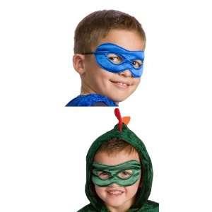 Reversible Superhero Mask Set of 2 for Boys Red & Black, Blue & Green