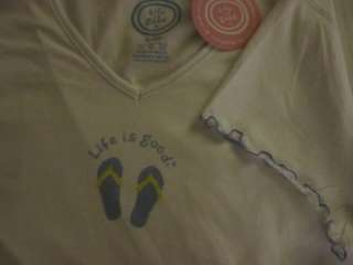 NWT Life is good SS SIESTA Sketchbook Flip Flop SLEEP T Shirt WOMEN