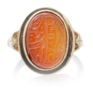 Antique Carnelian Jade Arabic Intaglio Retro Ring Jewelry