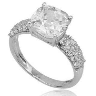 Cushion Cut CZ Cubic Zirconia 925 Sterling Silver Womens Fashion Ring