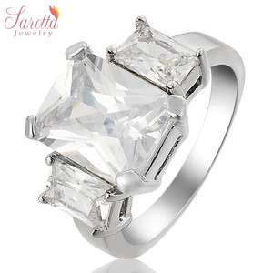 Gift Emerald Cut Fashion Cubic Zirconia Lady 18k Gold GP Ring 6