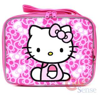 Large Rolling Backpack School Lunch Bag Set Pink Bow Trolley