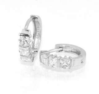 Diamonique CZ Princess Cut Huggie Hoop Earrings 925 Sterling Silver 5