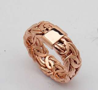 ALL POLISHED Byzantine Band Ring 14K Pink Rose Gold