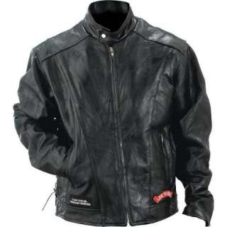 Mens Buffalo Leather Motorcycle Jacket w/USA Patches NEW