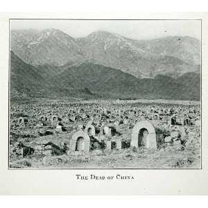 1920 Print China Grave Cemetery Mountain Range Landscape Tombstone
