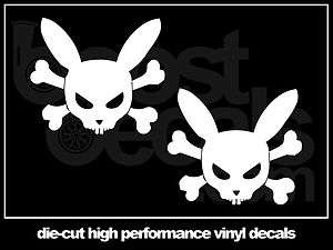 LIGHT BLUE* RABBIT SKULL BONES Decals Stickers Window VW