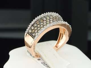 PINK GOLD CHOCOLATE BROWN DIAMOND ENGAGEMENT RING WEDDING BAND