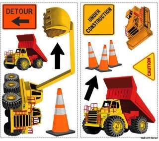 Construction Trucks Cars Boys Vinyl Wall Sticker Decals