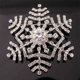 Snowflake Brooch Pin W Swarovski Crystals P030