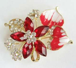 VARY COLORS CLEAR SWAROVSKI CRYSTAL BIG GOLD FLORAL PIN BROOCH 1106