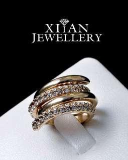New 18K Rose Gold GP Swarovski Crystals Ring