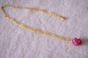 CREW JEWELRY Pink Enamel Crystal Pendant Necklace NEW