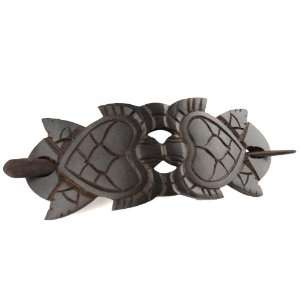 Hand Carved Sono Wood Hair Pin Barrette   Turtle Love   4