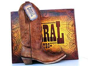 Corral Cowgirl Boots Womens Vintage Tan