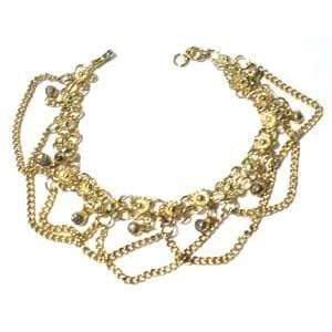 Fancy Gold Tone Anklet with Bells 10 Long Womens Jewelry