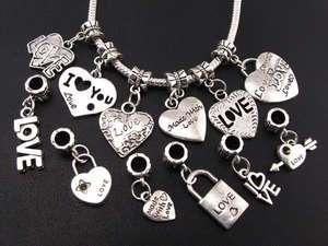 110pcs mixed LOVE dangle beads fit charm bracelet ☆fm29